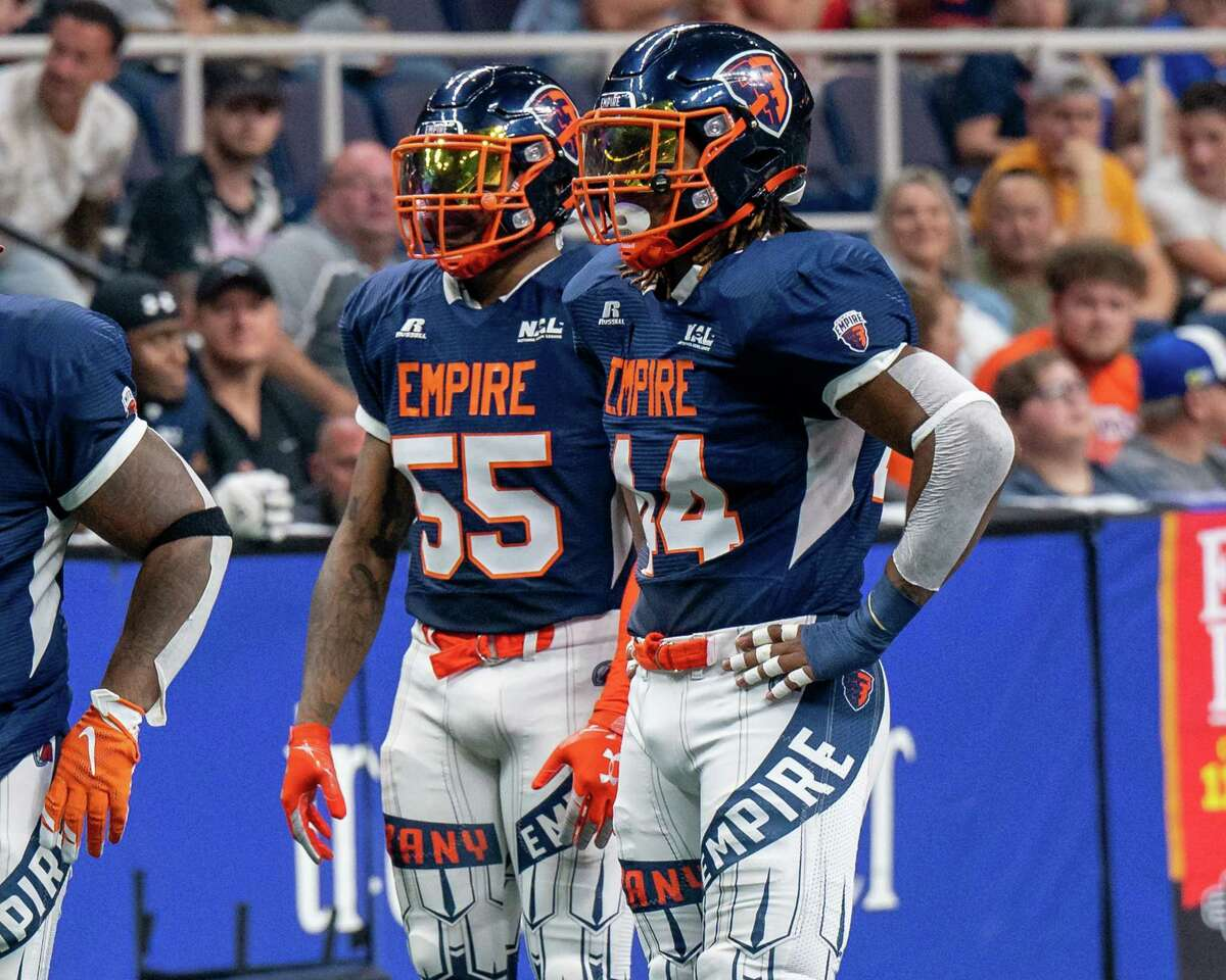 Albany Empire linebackers Trevon Shorts (55) and Patrick Macon (44) during a National Arena League game against the Jersey Flight at the Times Union Center, in Albany, NY, on Saturday, July 17, 2021.