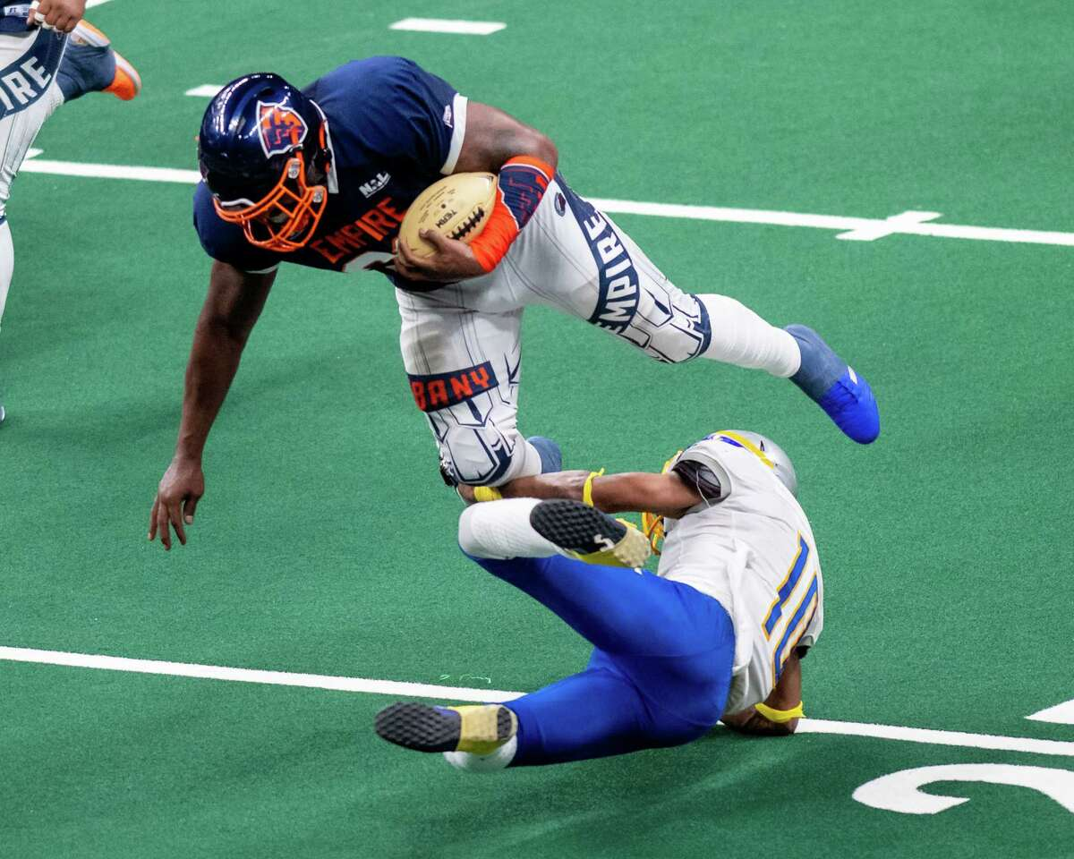 Albany Empire defensive lineman Harold Brantley makes an interception during a National Arena League game against the Jersey Flight at the Times Union Center in Albany, NY, on Saturday, July 17, 2021. (Jim Franco/Special to the Times Union)