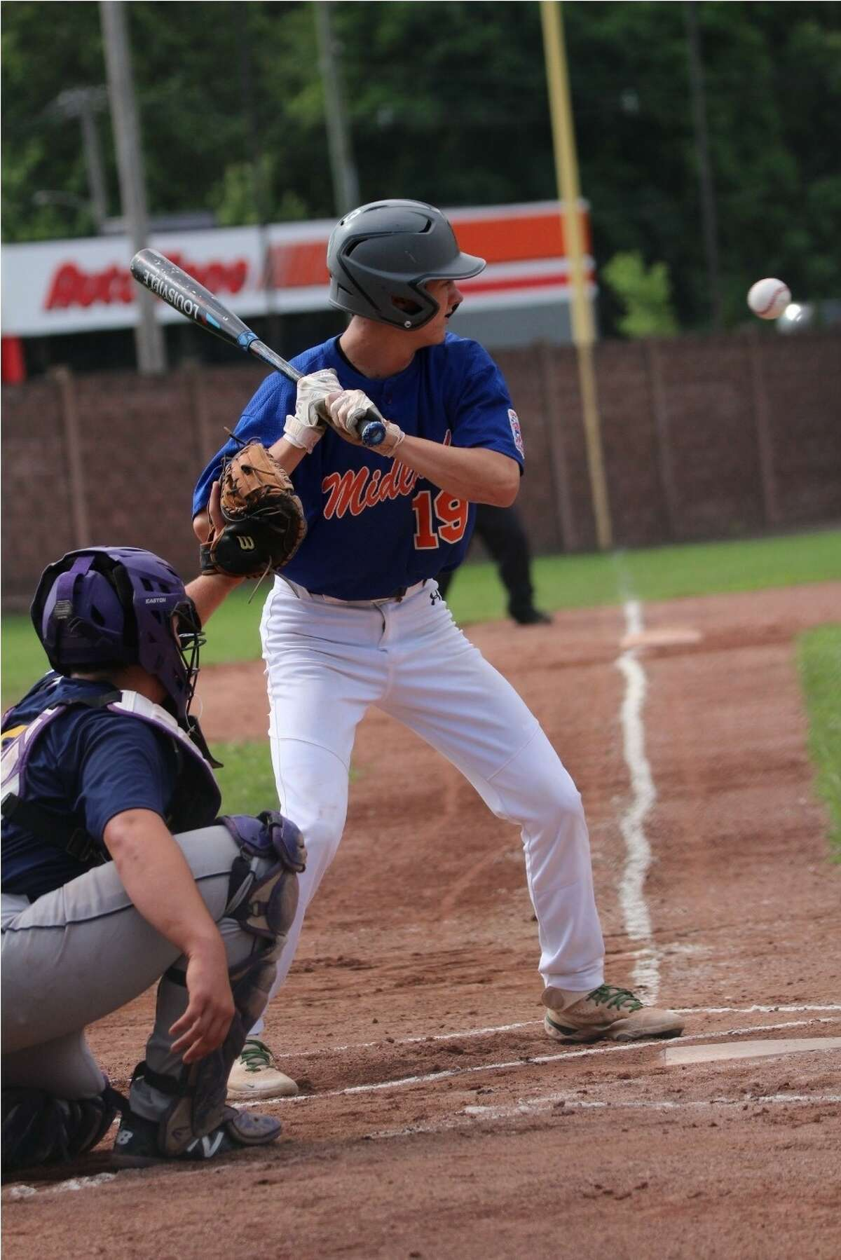 Midland's Zack Parker digs in during Saturday's Senior League Baseball state tournament winners' bracket final against Blissfield in Niles.