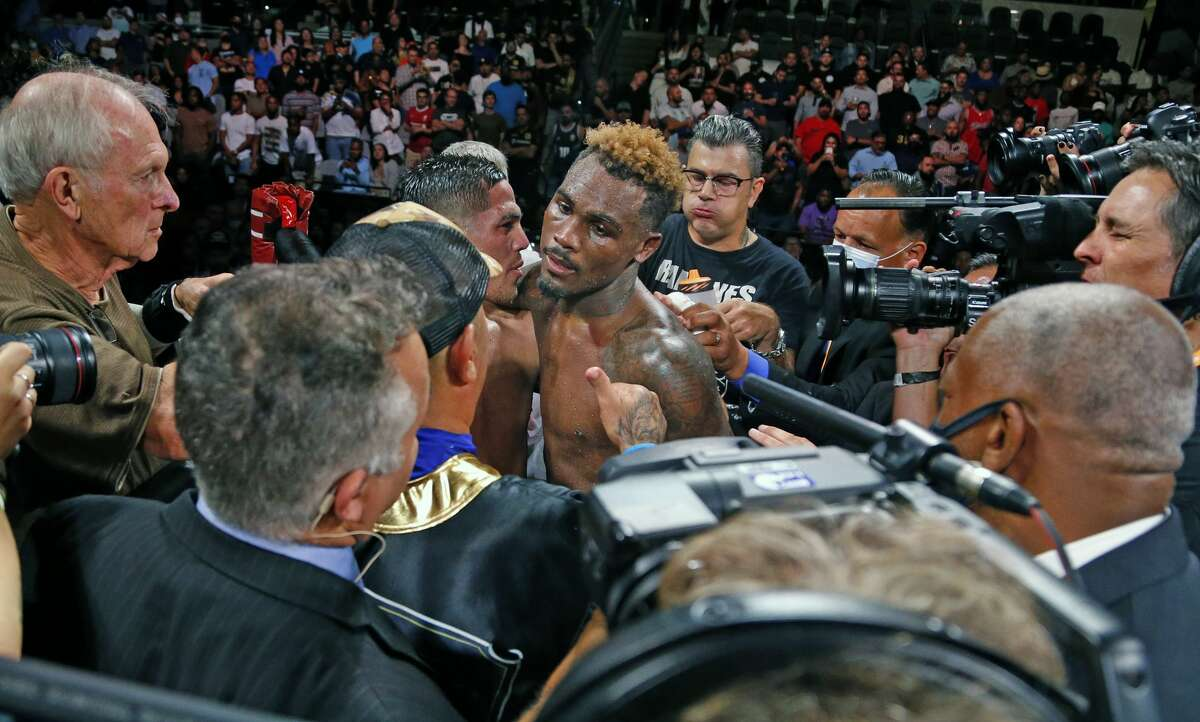 Jermell Charlo hugs Brian Castano after their fight wa declared a draw on Saturday, July 17, 2021 at the AT&T Center.