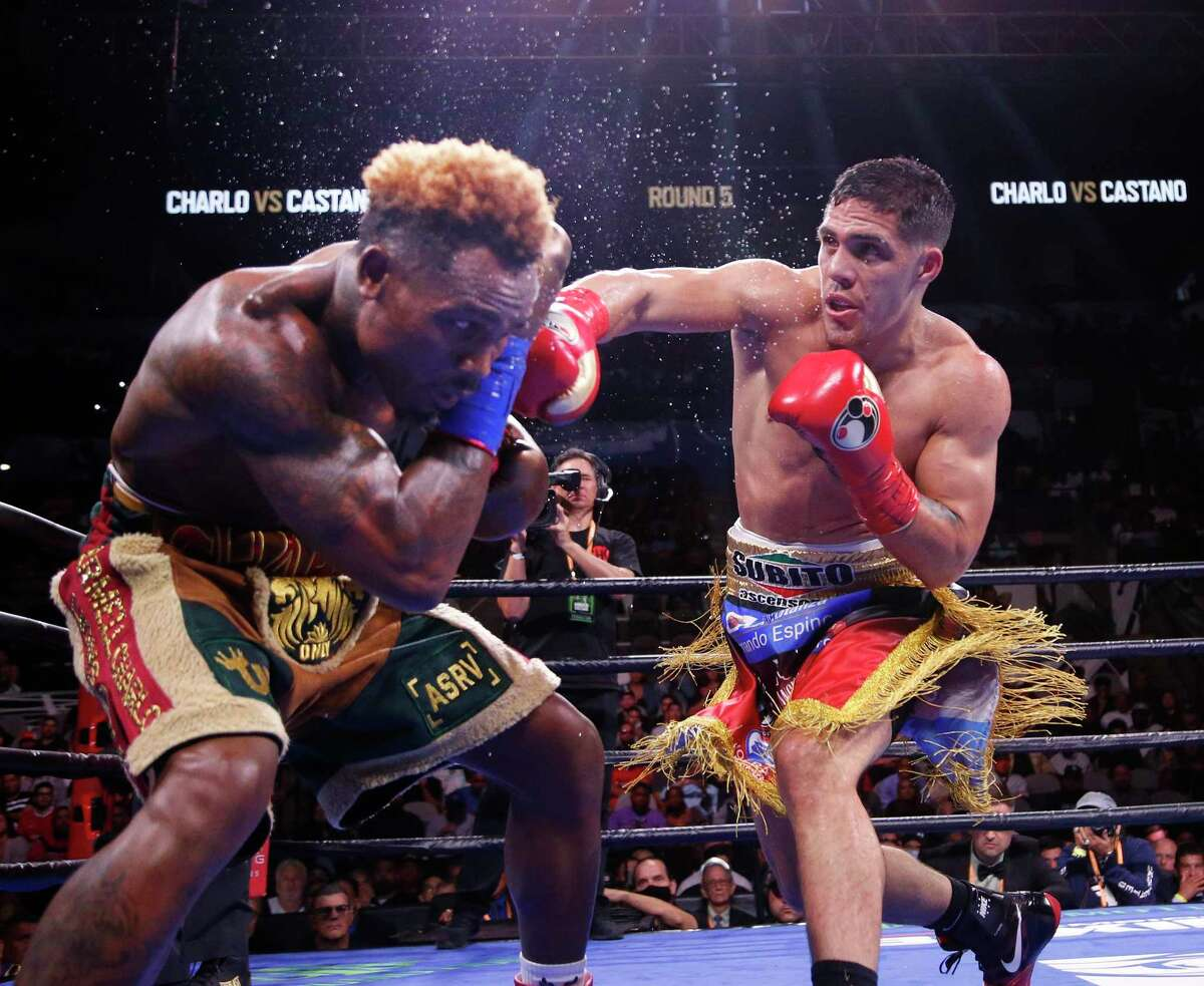 Jermell Charlo,L, avoids a right fro Brian Castano. The fight ended in a draw. Jermell Charlo is fighting Brian Castano for the undisputed championship at 154 pounds in a Premier Boxing Champions on Saturday, July 17, 2021 at the AT&T Center.