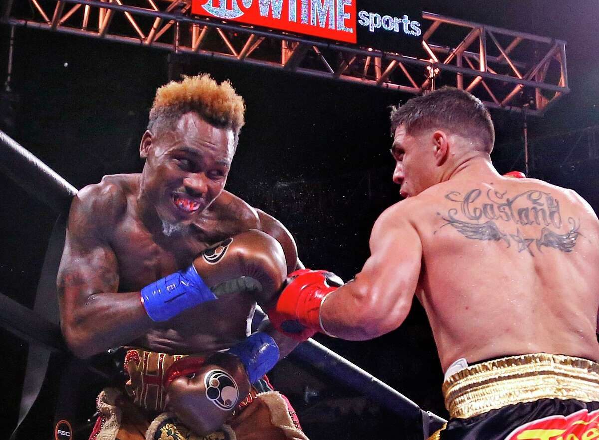 Jermell Charlo,L,avoids a left from Brian Castano. Jermell Charlo is fighting Brian Castano for the undisputed championship at 154 pounds in a Premier Boxing Champions on Saturday, July 17, 2021 at the AT&T Center.