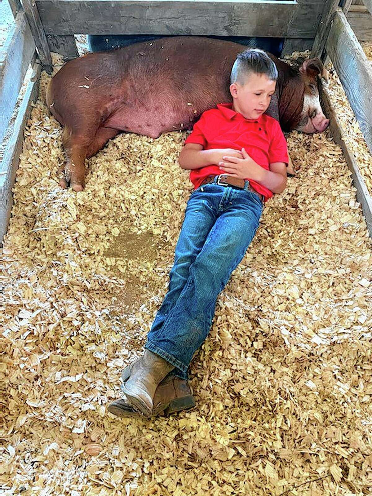 Ryder Armstrong, 9, joined 4-H this year and showcased his pig, Throttle, at the Morgan County Fair.