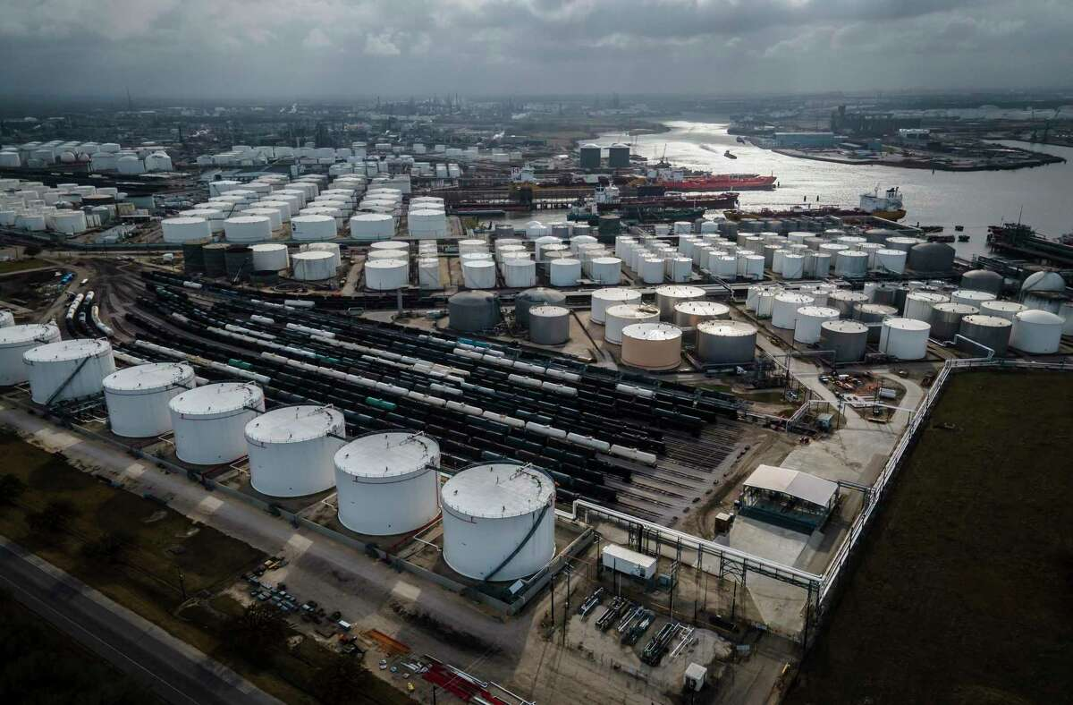 Storage tanks fills the landscape along the Houston Ship Channel on Thursday, March 11, 2021, in Deer Park, TX.