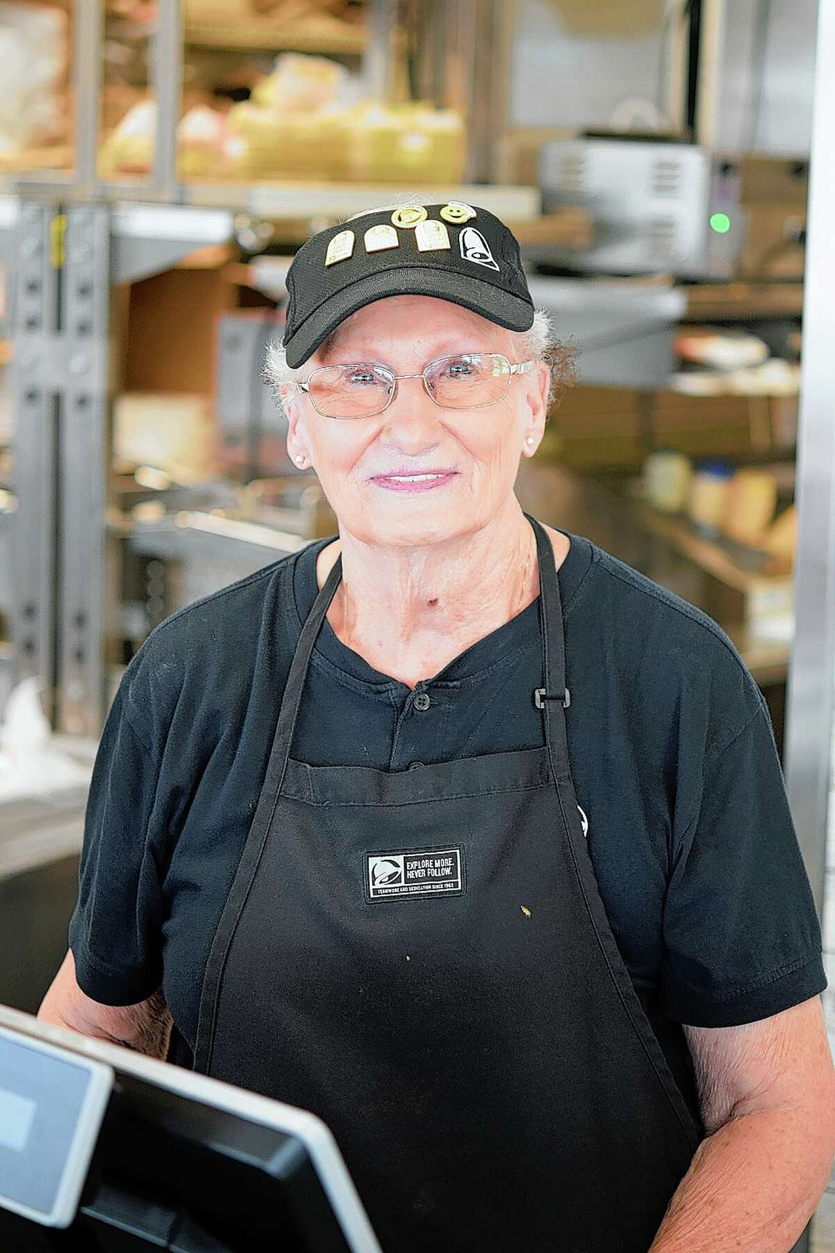 Pat Mast works the breakfast and lunch shift at the Jacksonville Taco Bell.