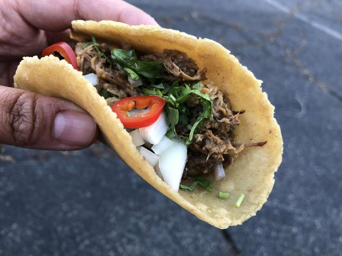 A taco from Hermanos Verdes, a pop-up in Castro Valley, Calif.