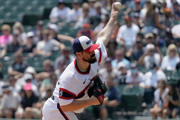 Chicago White Sox starting pitcher Carlos Rodon throws against the Houston Astros during the first inning of a baseball game in Chicago, Sunday, July 18, 2021. (AP Photo/Nam Y. Huh) Photo: Nam Y. Huh, Associated Press / Copyright 2021 The Associated Press. All rights reserved.