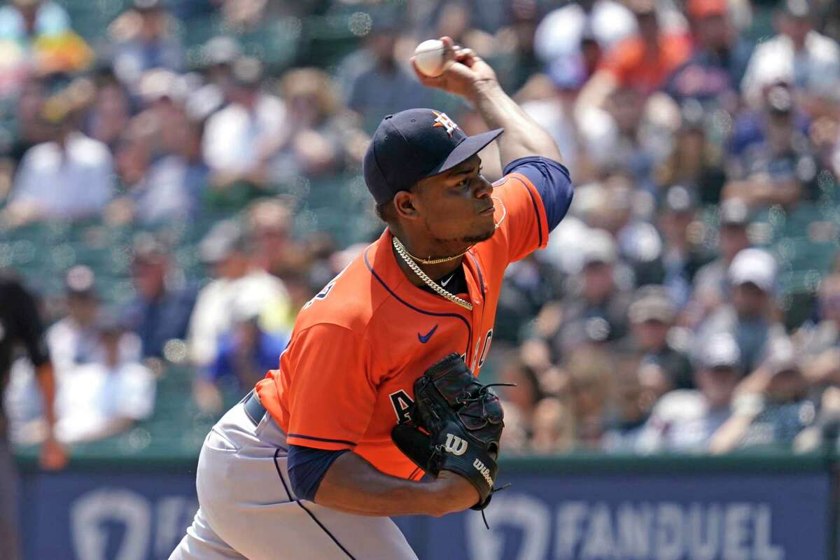 Houston Astros starting pitcher Framber Valdez throws to a Chicago White Sox batter during the first inning of a baseball game in Chicago, Sunday, July 18, 2021. (AP Photo/Nam Y. Huh)