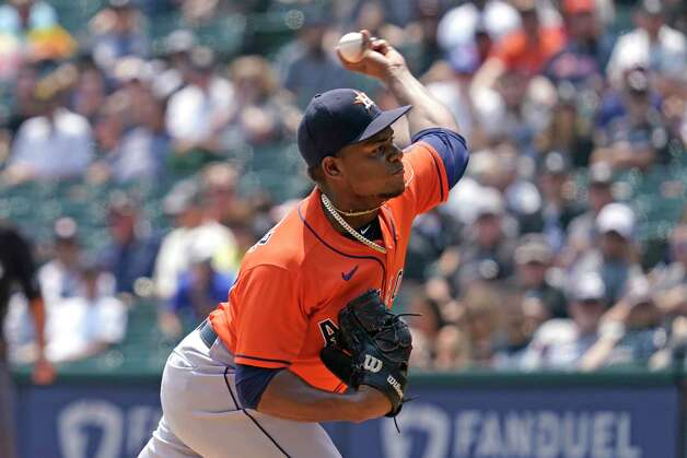 Houston Astros starting pitcher Framber Valdez throws to a Chicago White Sox batter during the first inning of a baseball game in Chicago, Sunday, July 18, 2021. (AP Photo/Nam Y. Huh) Photo: Nam Y. Huh, Associated Press / Copyright 2021 The Associated Press. All rights reserved.