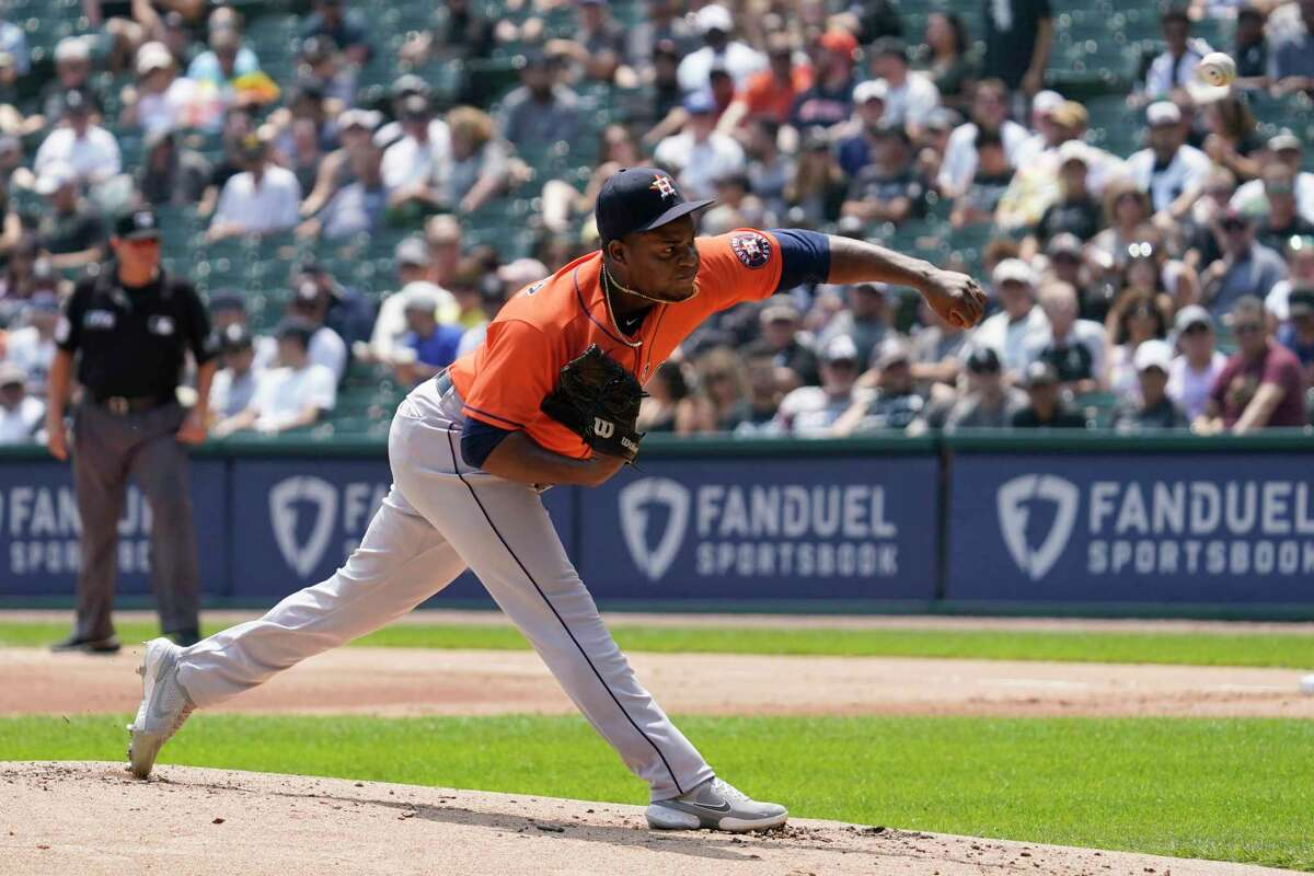 Houston Astros starting pitcher Framber Valdez throws against the Chicago White Sox during the first inning of a baseball game in Chicago, Sunday, July 18, 2021. (AP Photo/Nam Y. Huh)