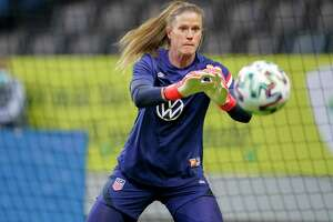 SOLNA, SWEDEN - APRIL 10: Alyssa Naeher #1 of the United States warming up before a game between Sweden and USWNT at Friends Arena on April 10, 2021 in Solna, Sweden. (Photo by Brad Smith/ISI Photos/Getty Images)
