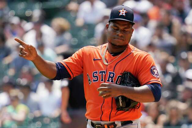 Houston Astros starting pitcher Framber Valdez reacts during the second inning of a baseball game against the Chicago White Sox in Chicago, Sunday, July 18, 2021. (AP Photo/Nam Y. Huh) Photo: Nam Y. Huh, Associated Press / Copyright 2021 The Associated Press. All rights reserved.