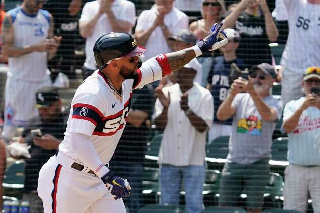 Chicago White Sox's Yoan Moncada celebrates after hitting a solo home run during the fourth inning of a baseball game against the Houston Astros in Chicago, Sunday, July 18, 2021. (AP Photo/Nam Y. Huh) Photo: Nam Y. Huh, Associated Press / Copyright 2021 The Associated Press. All rights reserved.