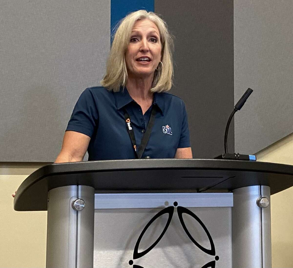 UIL Director of Athletics Susan Elza addresses the media Sunday at the Texas High School Coaches Association convention at Henry B. Gonzalez Convention Center.