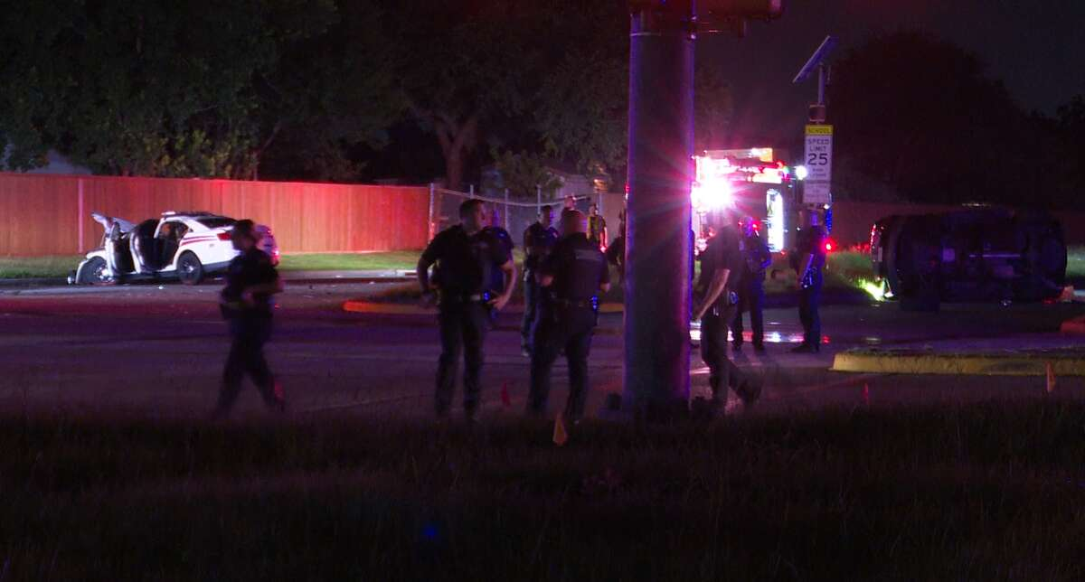 Two people, including a Harris County Constable's Office, Precinct 4, deputy, were injured in a crash on July 17, 2021, in north Harris County.