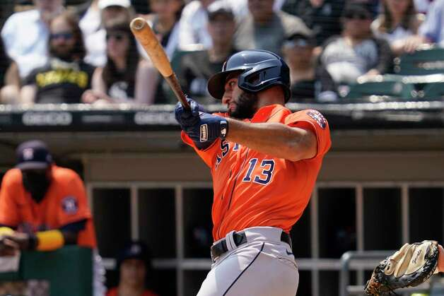 Houston Astros' Abraham Toro hits a single during the third inning of a baseball game against the Chicago White Sox in Chicago, Sunday, July 18, 2021. (AP Photo/Nam Y. Huh) Photo: Nam Y. Huh, Associated Press / Copyright 2021 The Associated Press. All rights reserved.