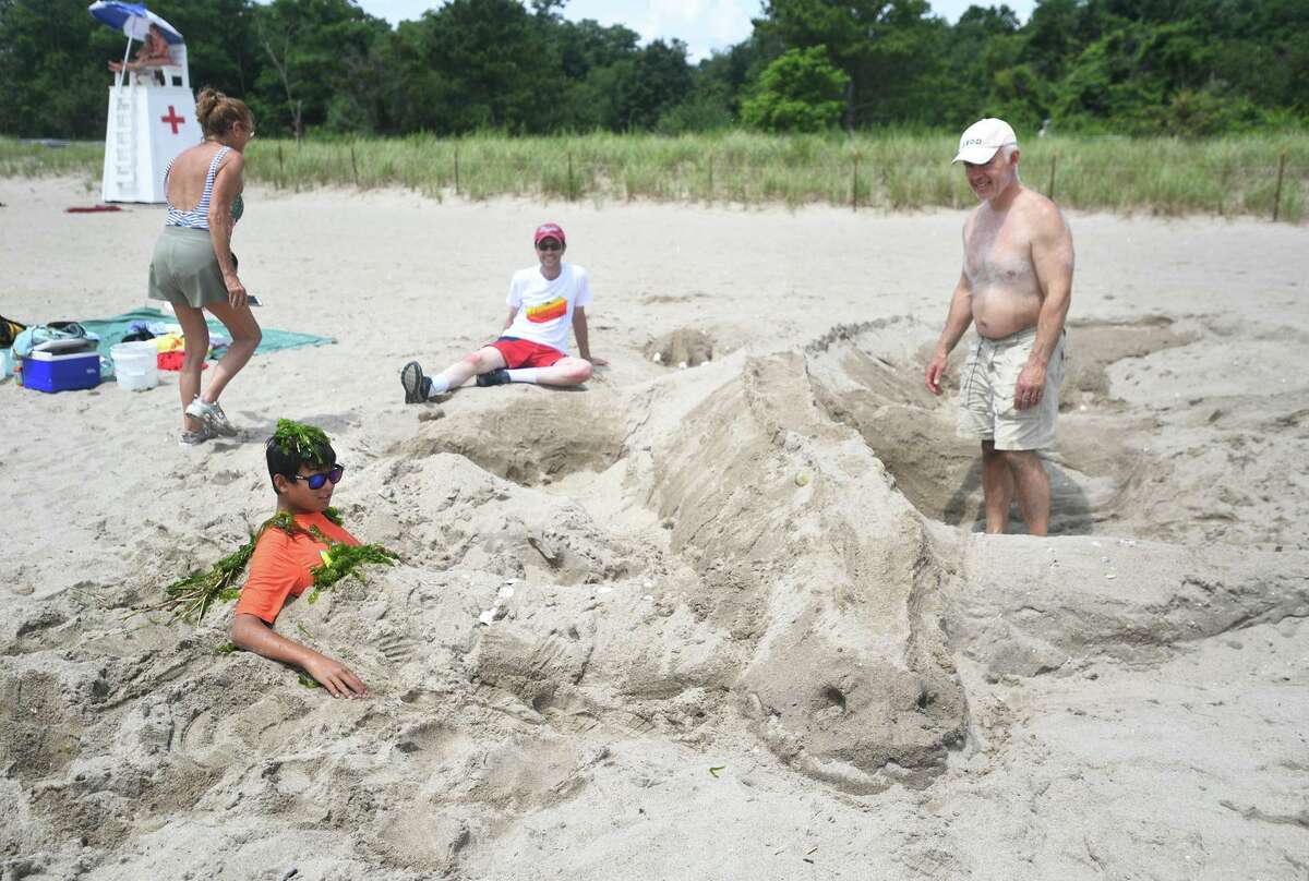 The annual sand sculpture competition at Walnut Beach in Milford Conn. on Sunday, July 18, 2021. Live judging was cancelled for fear of rain, but contestants were still able to submit photographs of their finished sculptures for judging in a virtual competition.