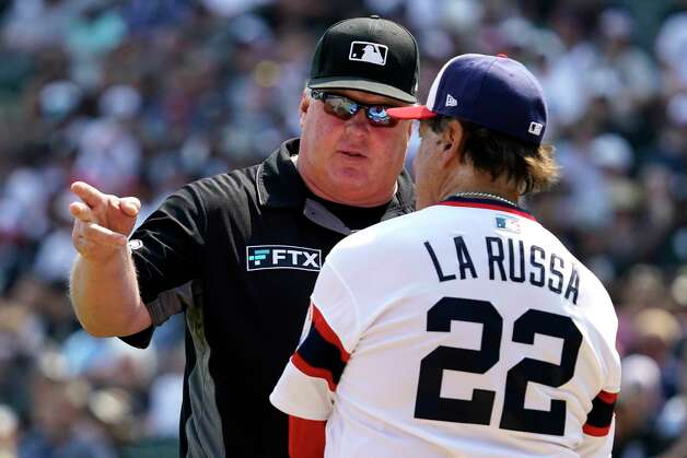 Umpire Bill Miller, left, talks with Chicago White Sox manager Tony La Russa during the seventh inning of the team's baseball game against the Houston Astros in Chicago, Sunday, July 18, 2021. (AP Photo/Nam Y. Huh) Photo: Nam Y. Huh, Associated Press / Copyright 2021 The Associated Press. All rights reserved.