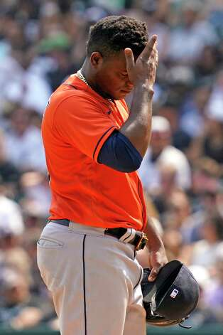 Houston Astros starting pitcher Framber Valdez reacts after Chicago White Sox's Jose Abreu hit a double during the seventh inning of a baseball game in Chicago, Sunday, July 18, 2021. (AP Photo/Nam Y. Huh) Photo: Nam Y. Huh, Associated Press / Copyright 2021 The Associated Press. All rights reserved.