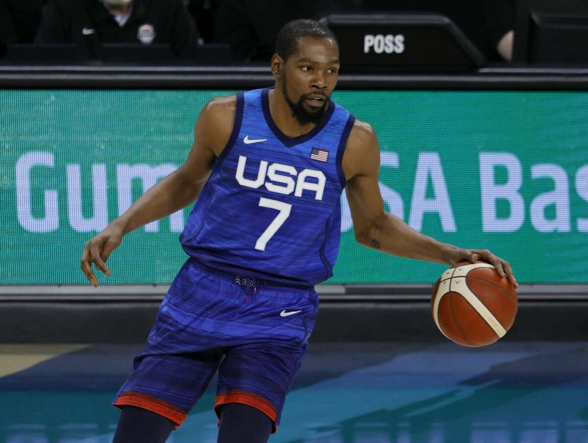 Kevin Durantof the United States brings the ball up the court against the Australia Boomers during an exhibition game at Michelob Ultra Arena ahead of the Tokyo Olympic Games on July 12, 2021 in Las Vegas, Nevada.