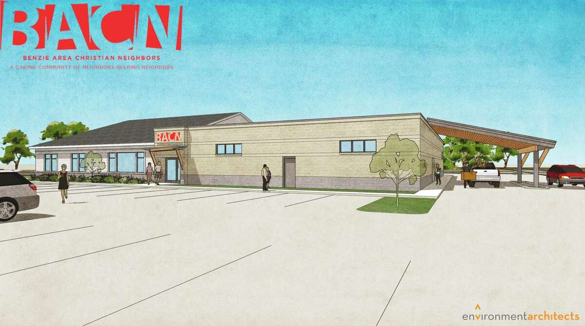 Pictured is concept art for the new BACN building, which will feature two sides, one for administration and programming, and another for food and clothing distribution. (Courtesy Photo)