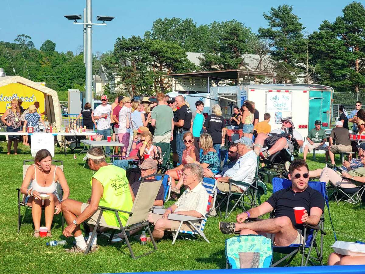 The beer tent, run by the Frankfort Eagles Club, was a popular destination at Frankfort Music Fest. (Colin Merry/Record Patriot)