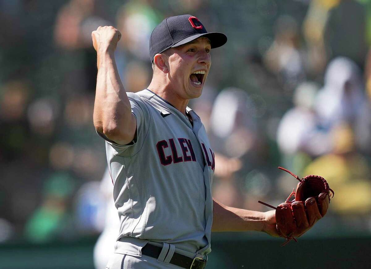 Indians reliever James Karinchak, who closed Saturday's win over Oakland with his 10th save, has the highest strikeout rate (15.8 per nine innings) among active MLB pitchers.