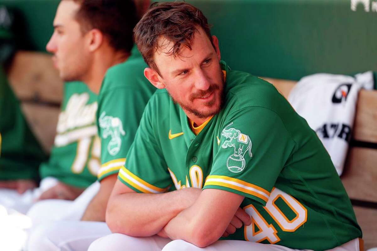 Oakland Athletics' starting pitcher Chris Bassitt in dugout during 4th inning against Cleveland Indians during MLB game at Oakland Coliseum in Oakland, Calif., on Sunday, July 18, 2021.