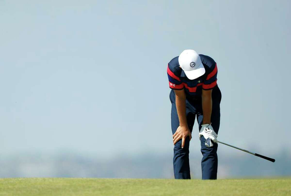 Jordan Spieth reacts on the eighth hole of Sunday's final round, when he finished two shots behind Collin Morikawa,