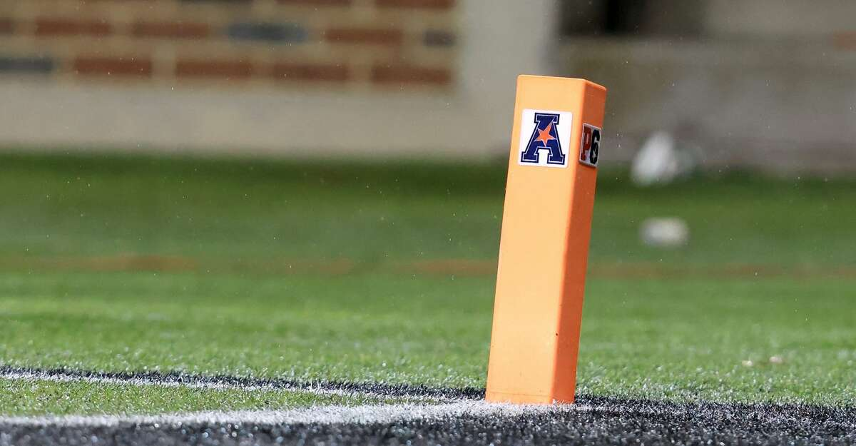 A endzone pylon with the American Conference logo on the field of the American Athletic Conference Championship between the Cincinnati Bearcats and the Tulsa Golden Hurricane at Nippert Stadium on December 19, 2020 in Cincinnati, Ohio. (Photo by Justin Casterline/Getty Images)