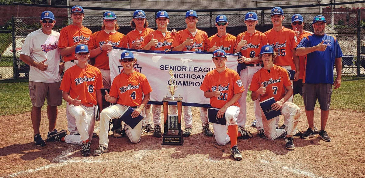Midland's all-star team poses with the championship trophy and banner after winning the Senior League Baseball state title in Niles on Sunday, July 18, 2021. Members of the team are (front, from left) Aidan O'Malley, Tommy Kroll, John Jenkins, Ben Haney; and (back, from left) assistant coach Chris Bond, Hudson Gerstacker, Adam Brenske, Owen Wendt, Tom Bacigalupo, Tyler Bacigalupo, Zack Parker, Nick Bond, Jacob Ahn, assistant coach Chris Haney, and manager Joe Brenske.