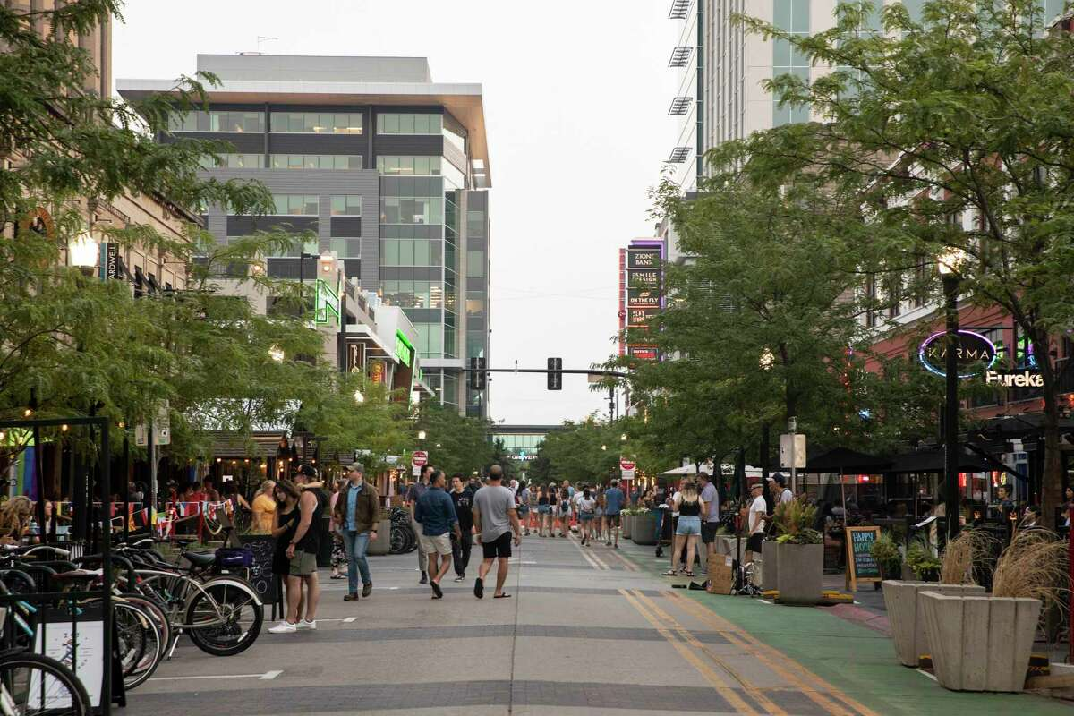 Downtown Boise, Idaho, teems with people on a hot evening July 15.