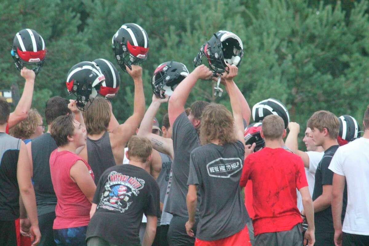 Reed City's football team gets ready to close out a practice last week. (Pioneer photo/John Raffel)