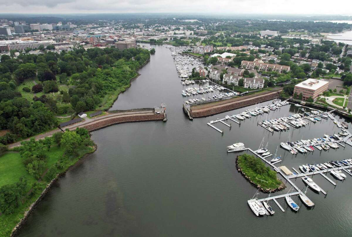 The Hurricane Protection Barrier protects the city of Stamford, Conn. from flooding on Sunday, July 18, 2021. Located on Stamford Harbor, the 17-foot stone barrier was completed in 1969 and has protects about 600 acres of the city including manufacturing plants, a portion of the commercial district, and residential neighborhoods.