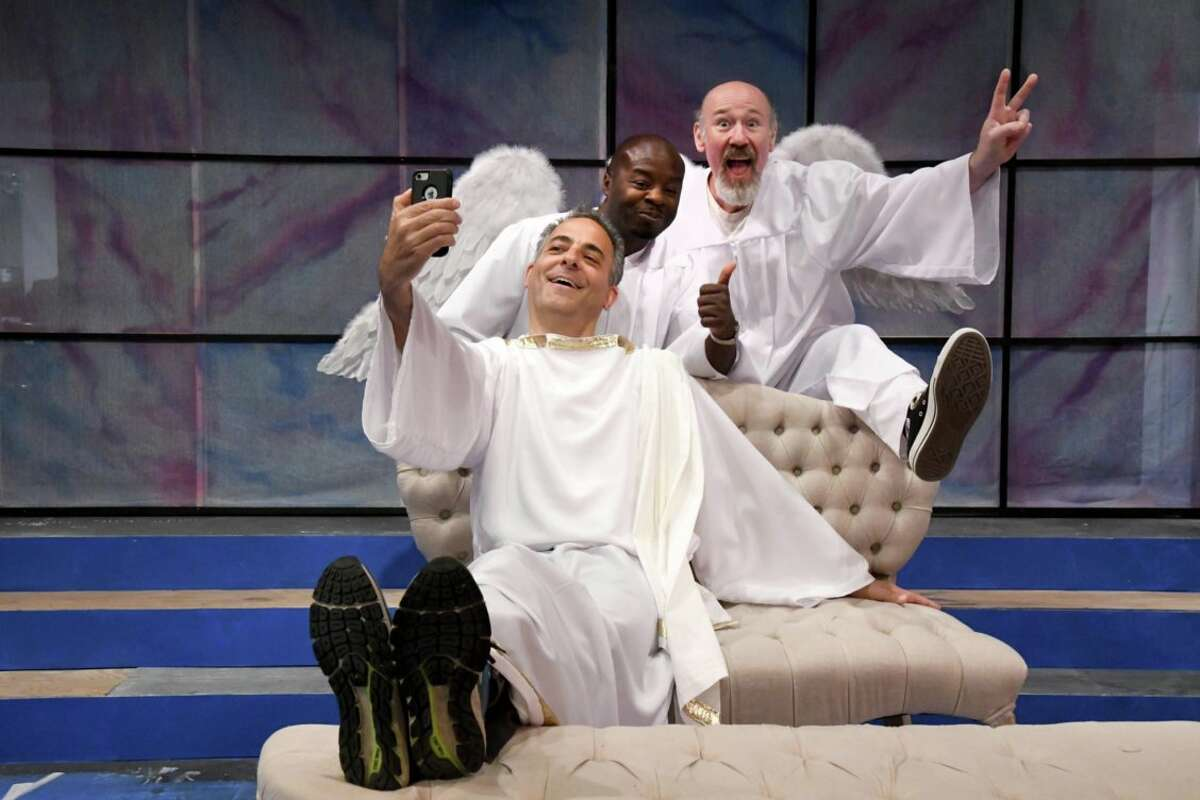 """Bill Shein,(left to right) Richard Marshall, and Scott Wasser in Curtain Call Theatre's production of """"An Act of God."""" (Photo: Michael P. Farrell)"""