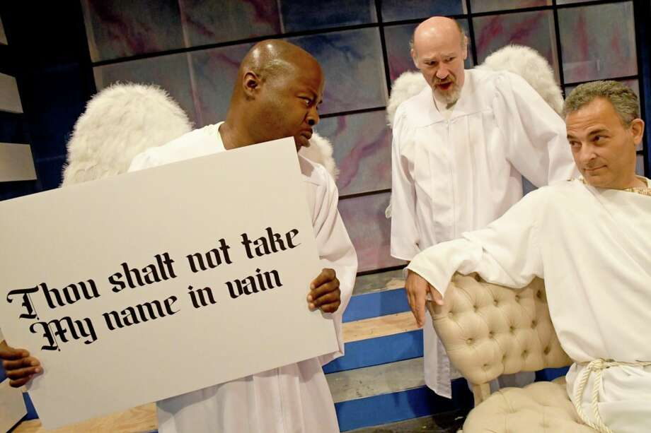 """Richard Marshall, (left to right) Scott Wasser and Bill Sheinin Curtain Call Theatre's production of """"An Act of God."""" (Photo: Michael P. Farrell) Photo: Michael P. Farrell"""