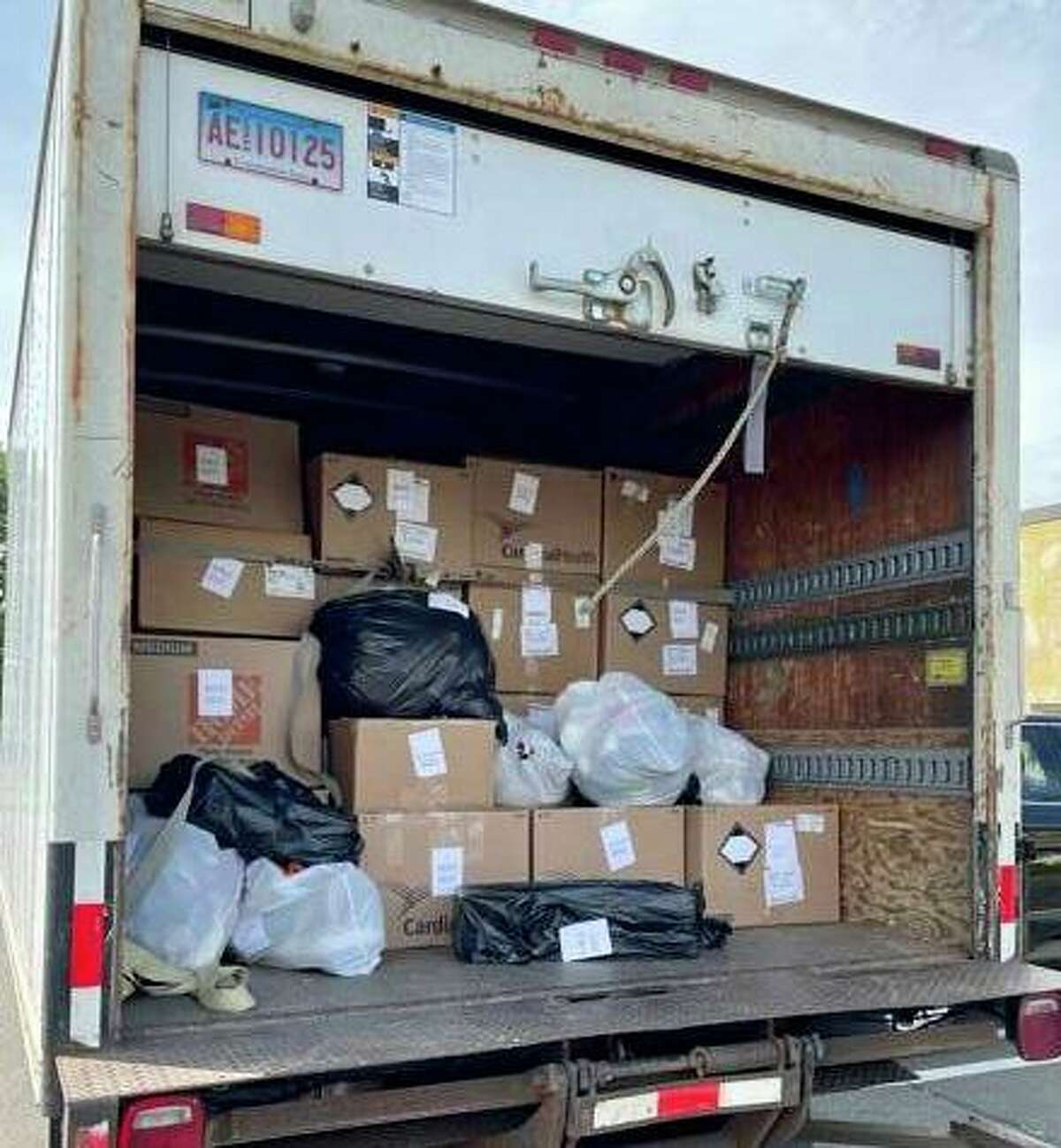 The dozens of boxes filled with toys donated for YNHH Toy Closet