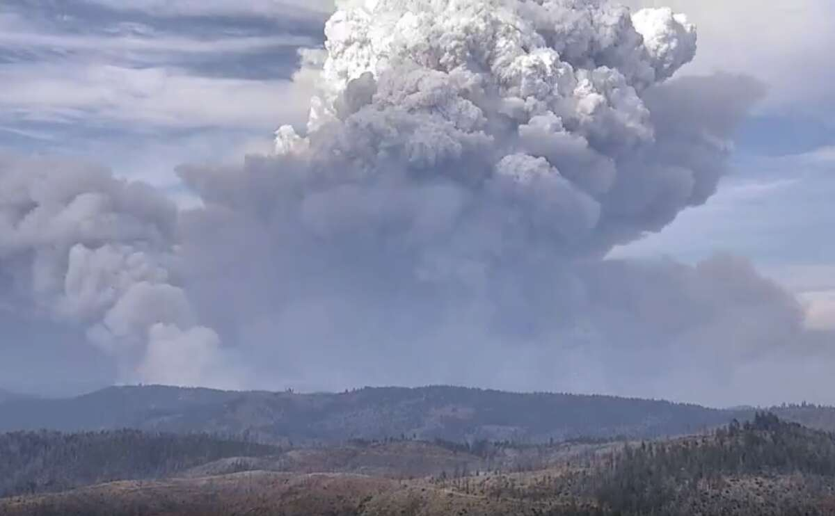 This photo taken on July 18, 2021 shows the ongoing #DixieFire, which continues to burn in Plumas County.