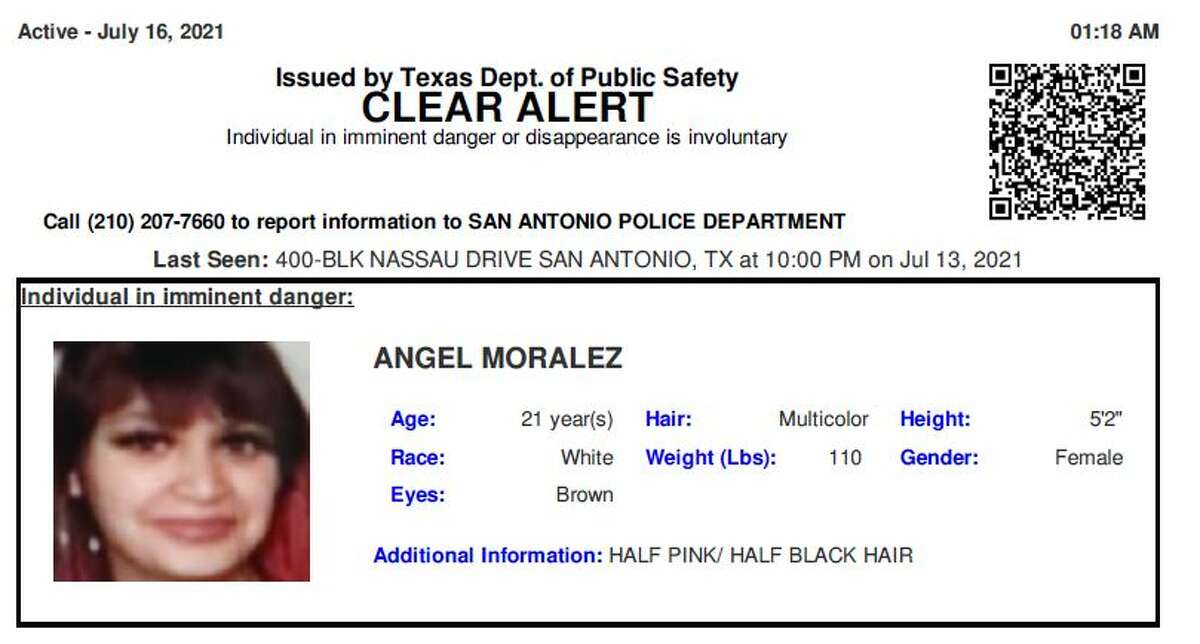 Angel Marie Moralez, 21, has been identified as the body found in a grassy median off of U.S. 281 on July 16.