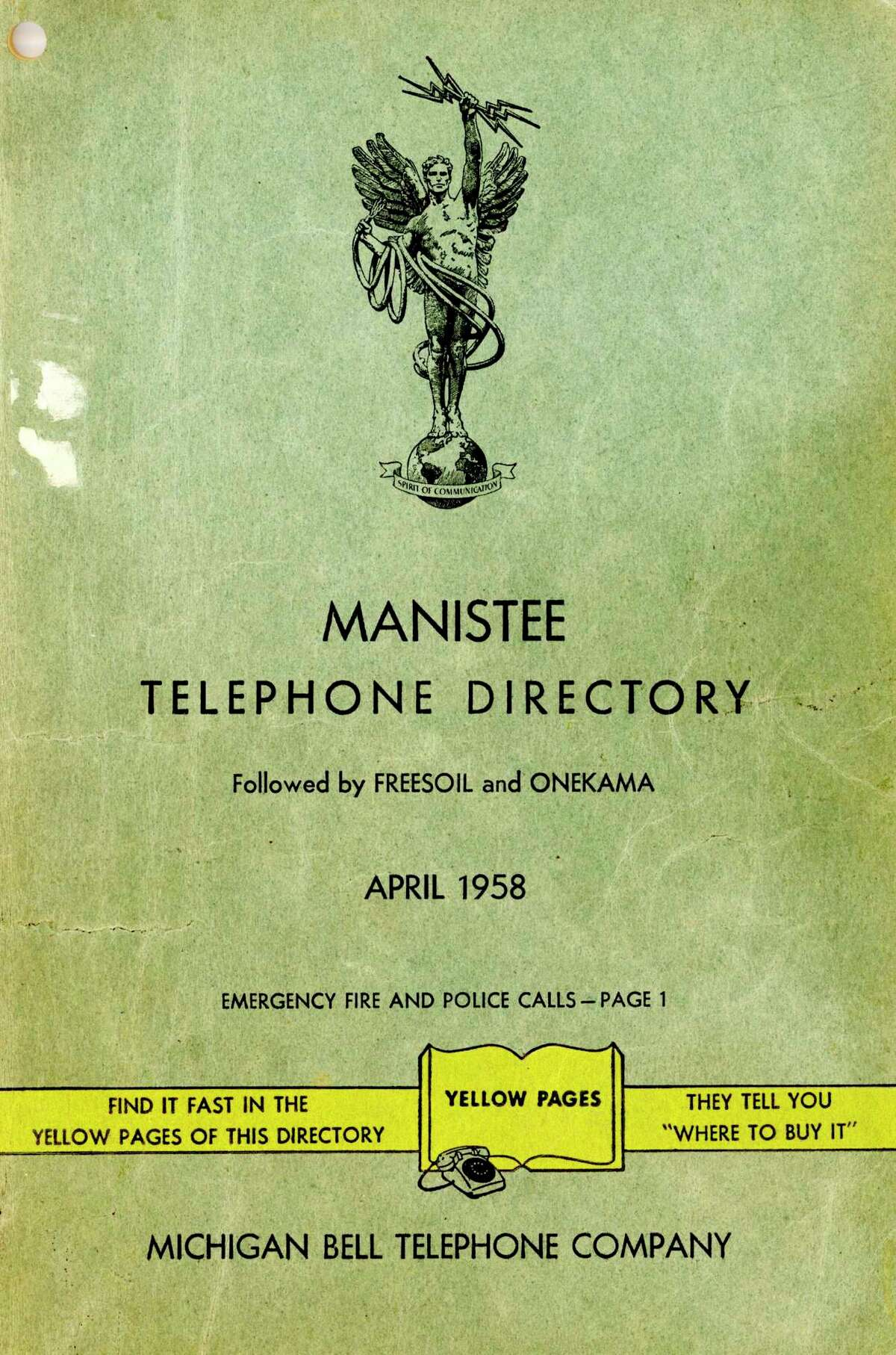 The cover of the April 1958 Manistee Telephone Directory which was the first directory under the new dial system. (Manistee County Historical Museum photo)
