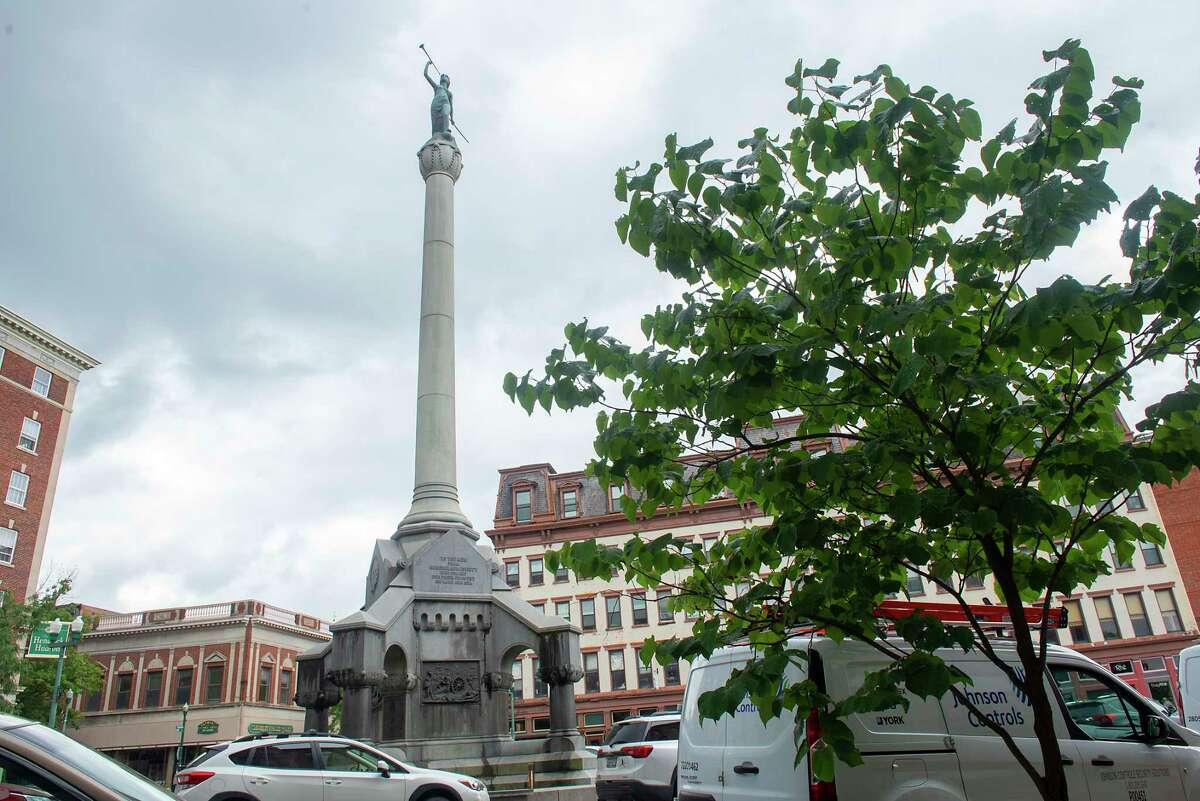 The Rensselaer County Soldiers and Sailors Monument in Monument Square on Monday, July 19, 2021 in Troy, N.Y. (Lori Van Buren/Times Union)