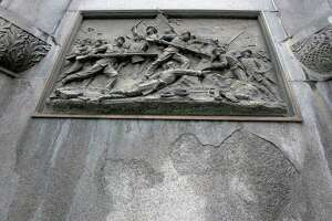 Natural damage due to weather is seen in the Rensselaer County Soldiers and Sailors Monument in Monument Square on Monday, July 19, 2021 in Troy, N.Y. (Lori Van Buren/Times Union)