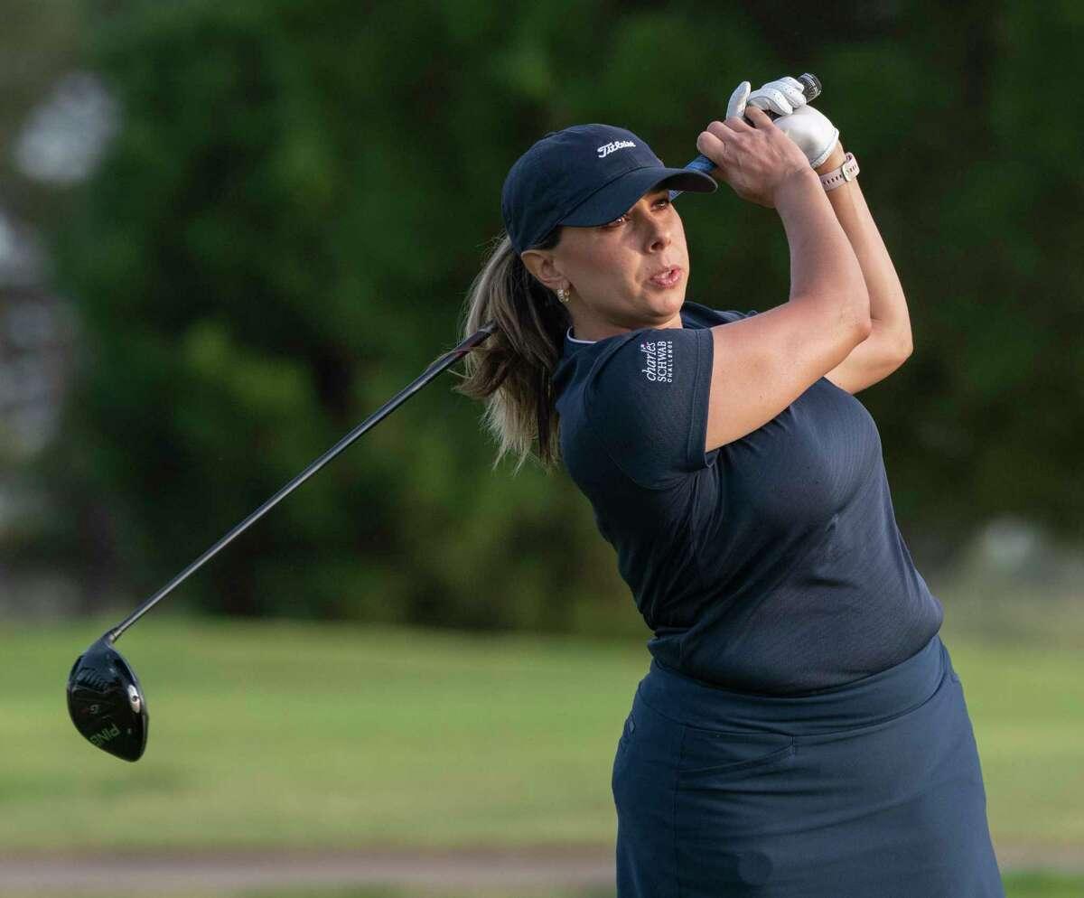 Shelly Martinez follows her shot 07/19/2021 in the qualifier round at Ranchland Hills Golf Club. Tim Fischer/Reporter-Telegram