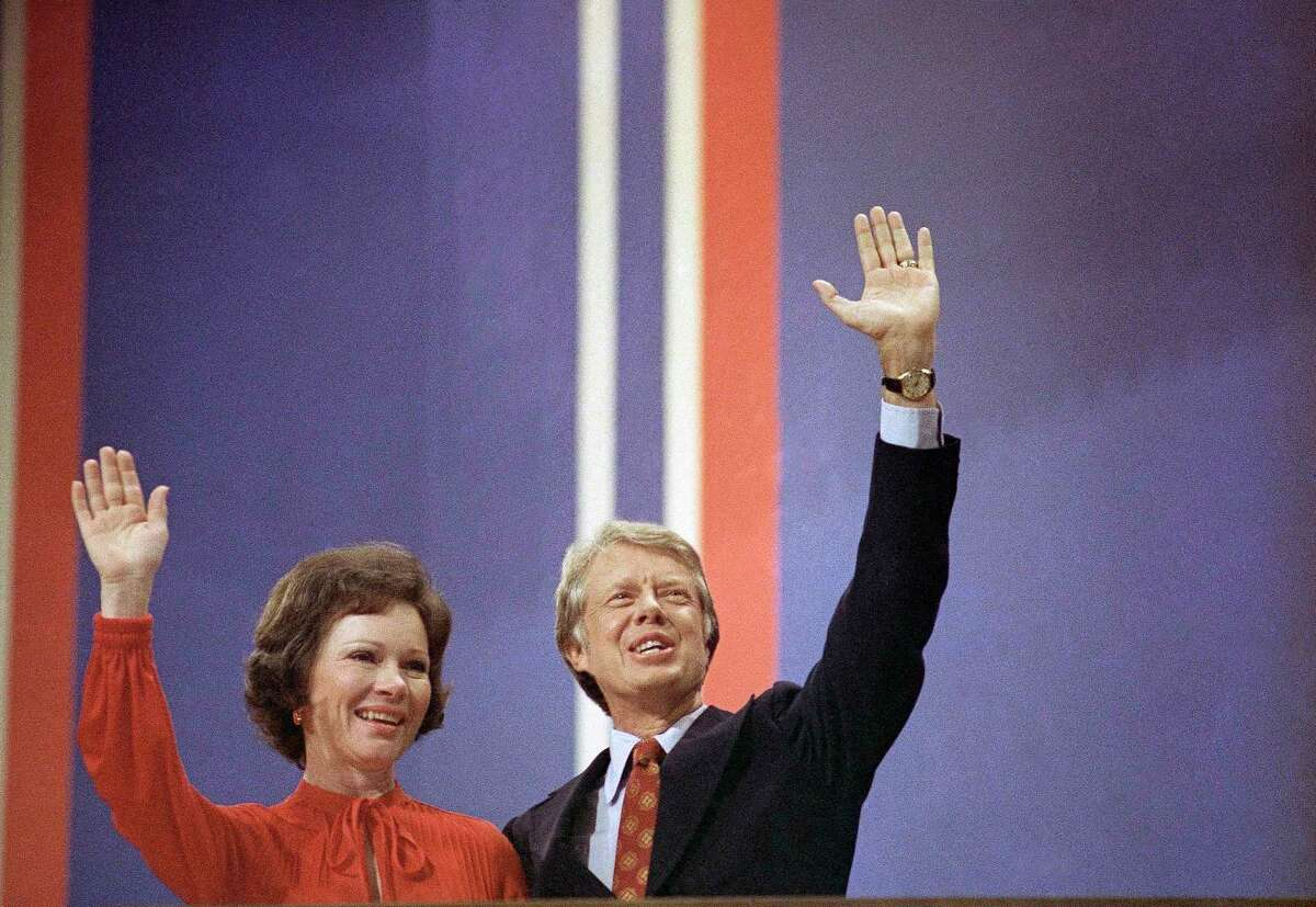 Jimmy Carter with wife Rosalynn Carter at the 1976 Democratic Convention in Madison Square Garden in New York.