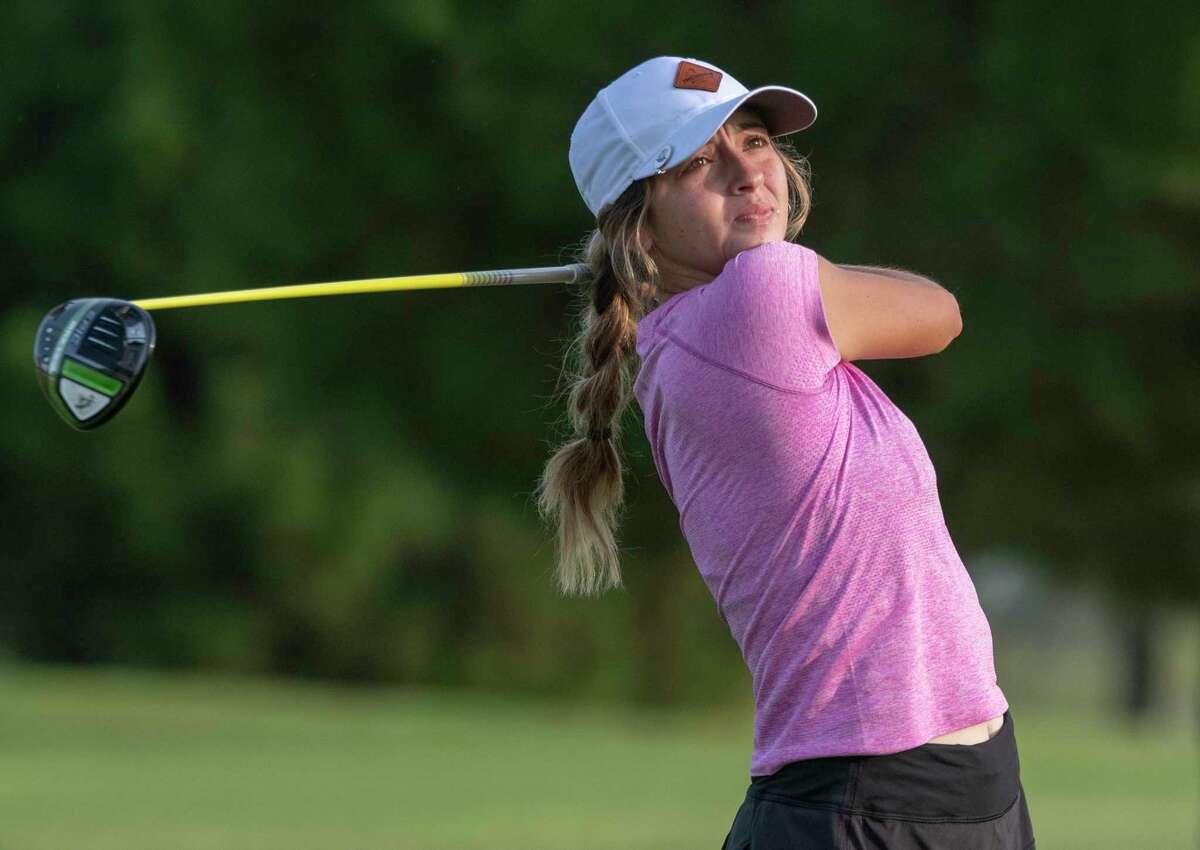 Aspen Escamilla follows her shot 07/19/2021 in the qualifier round at Ranchland Hills Golf Club. Tim Fischer/Reporter-Telegram