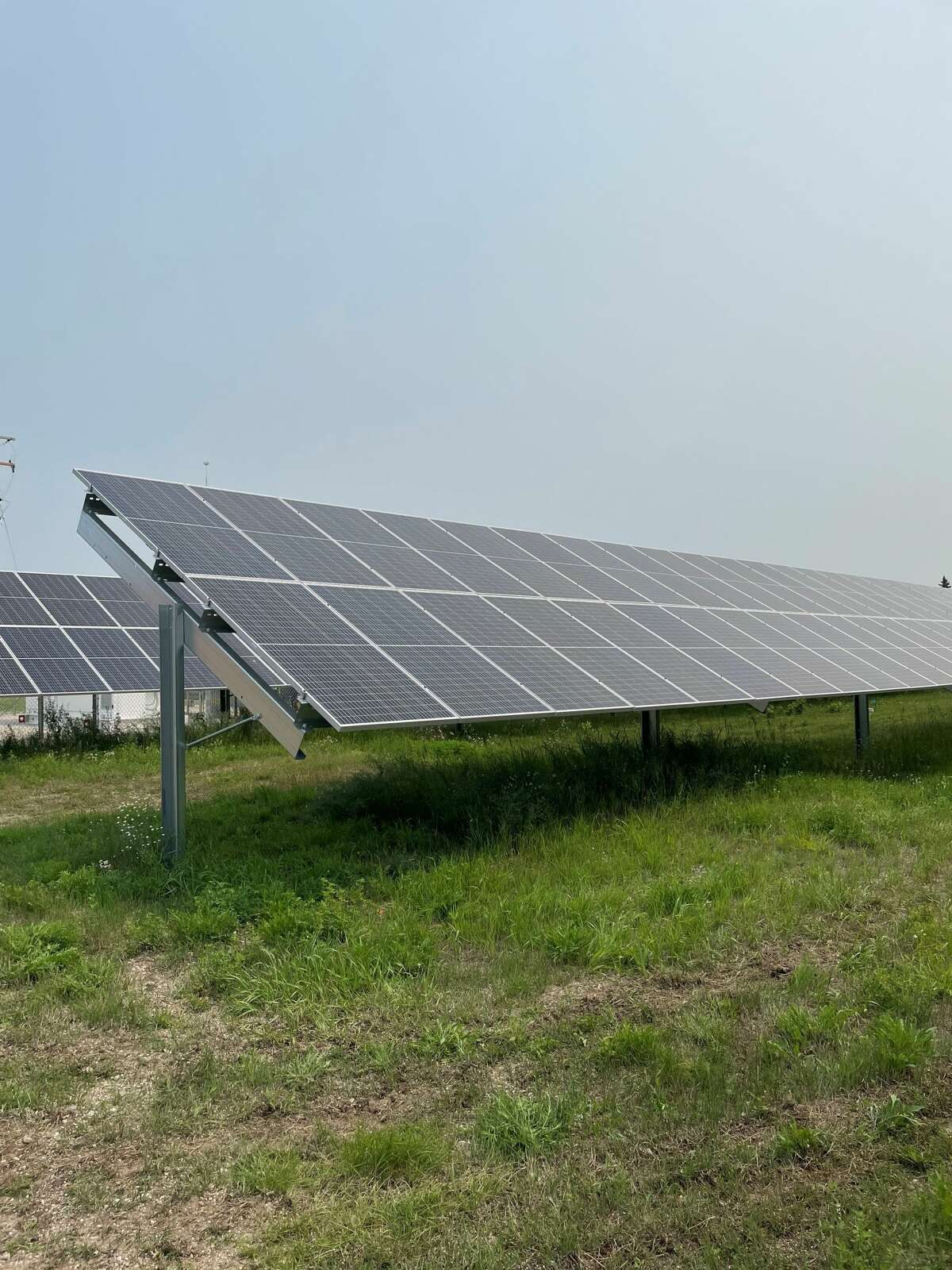 A solar panel at the new Cadillac Solar Gardens power plant is shown at a dedication event July 19, 2021.