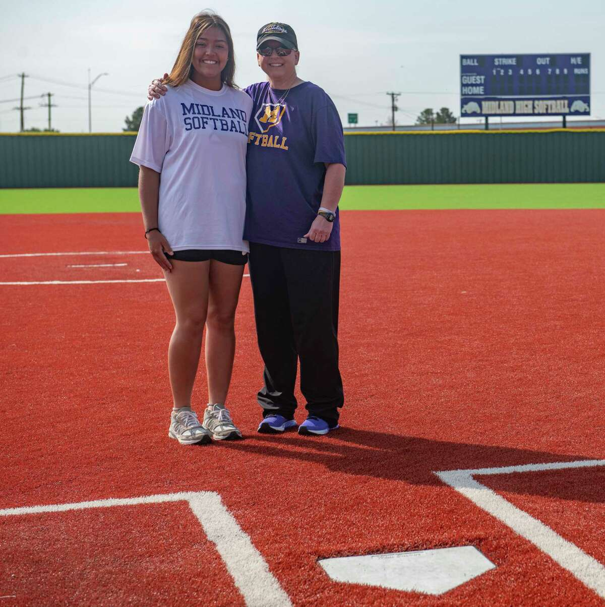 MRT softball player of the year Midland High's Alex Aguilar and MRT coach of the year MHS' Shawnda Vines. 07/19/2021 Tim Fischer/Reporter-Telegram