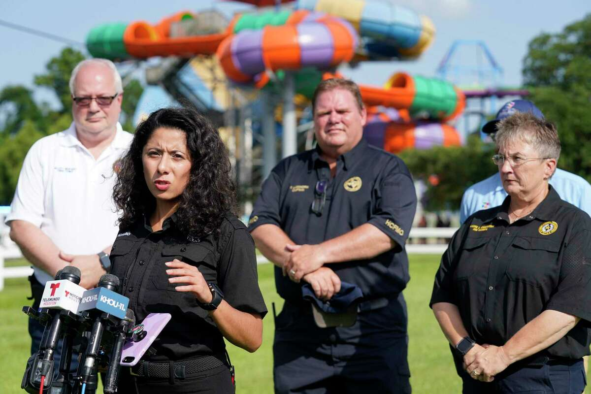 Harris County Judge Lina Hidalgo speaks to reporters Saturday after a chemical leak at Six Flags Hurricane Harbor Splashtown in Spring sent dozens of people to the hospital.