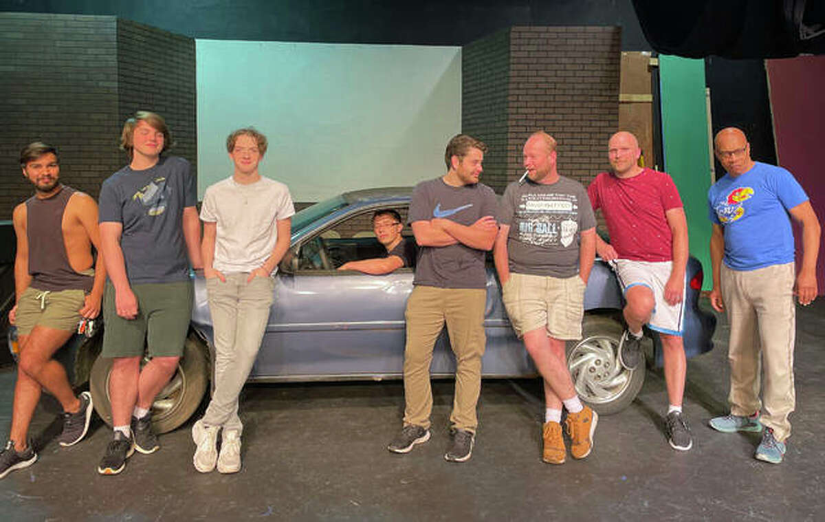 """Nathan Beilsmith, Brennan Whittleman, Devin Sadler, Ian Wonders, Kurtis Leible, Shea Maples, Phil Gill and Jared Hennings make up the main ensemble in """"The Full Monty"""" now at Alton Little Theater."""