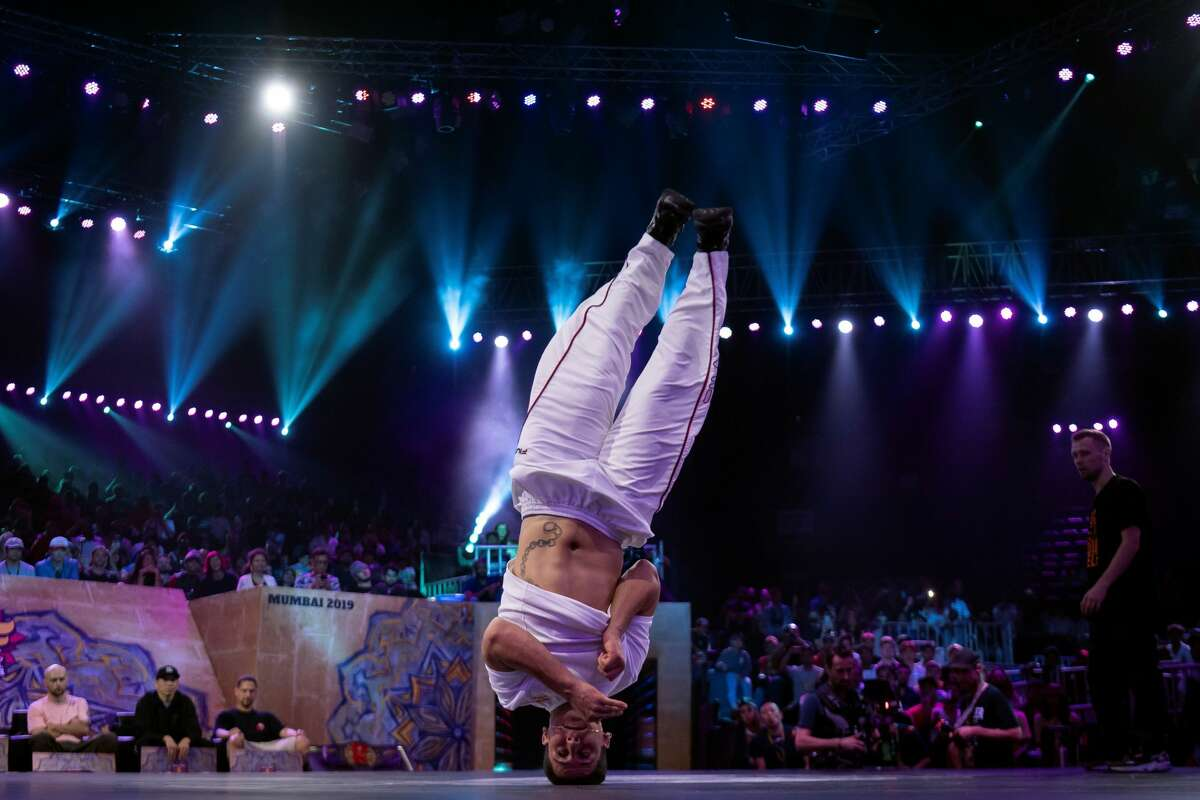 Austria's breakdancer Fouad Ambelj aka Lil Zoo competes during the Red Bull BC One, the breakdance one-on-one battle world championship on November 09, 2019 in Mumbai. (Photo by Lionel BONAVENTURE / AFP) (Photo by LIONEL BONAVENTURE/AFP via Getty Images)